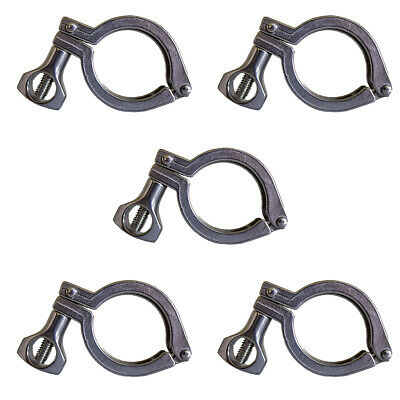 5pc 1.5 Sanitary Tri-clamp Hinged 304 Stainless Steel 1.5 Inch Clamp