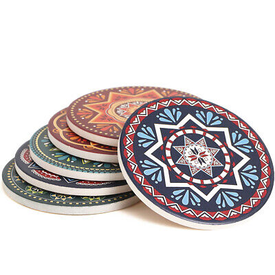 ENKORE Ceramic Coaster Set of 6 Mandala Style Protect Table from Marks and Spill Ceramic 6 Coaster
