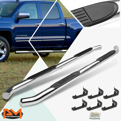 "For 07-19 Silverado/Sierra Crew Cab 3"" Side Step Nerf Bar Running Board Chrome"