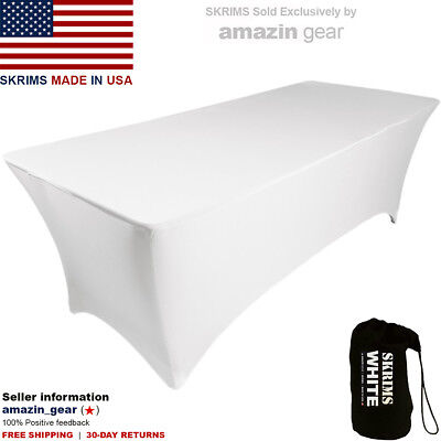 NEW! PRO DJ Table Scrim, 4' WHITE Stretch Spandex Cover w/ Cable Holes +FREE Bag
