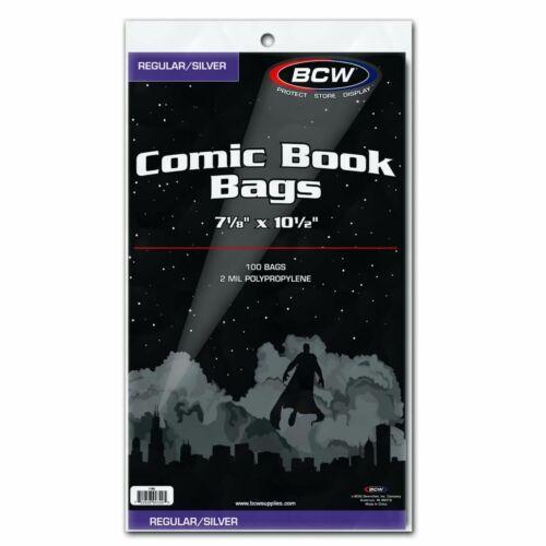 """100 - BCW Regular / Silver 2-Mil Polypropylene Comic Book Bags 7-1/8"""" x 10-1/2"""""""