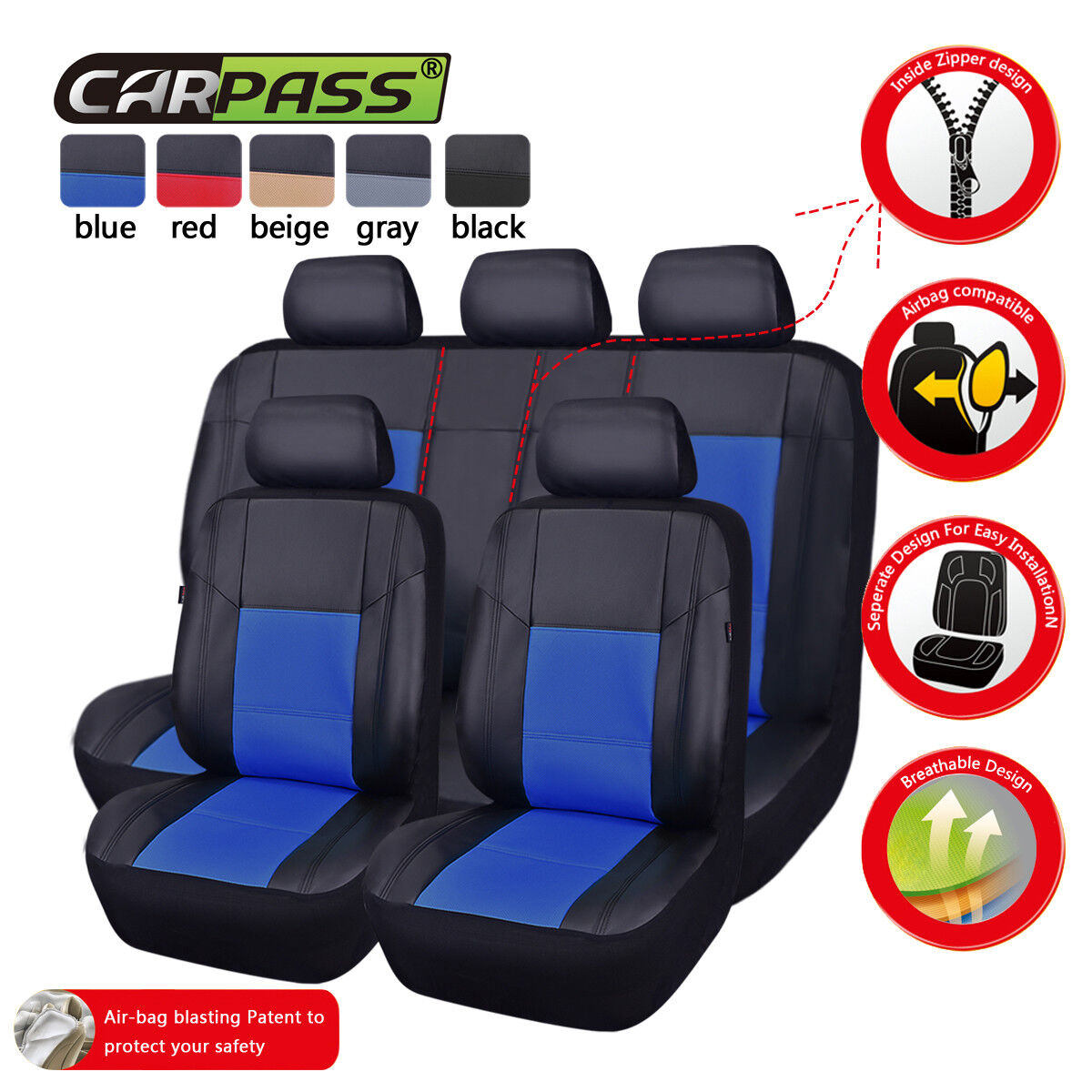 Universal PU Leather Car Seat Covers Fit Split Rear Seat Waterproof Red Airbag