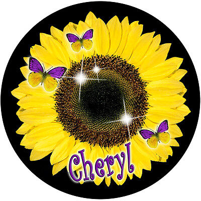 Sunflower Butterflies Round Mouse Pad Personalize Gifts Ladies Girls Flowers New