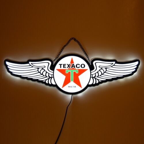 Texaco Star LED sign wall lamp aviation wings Neon shop hanger Gas pump globe