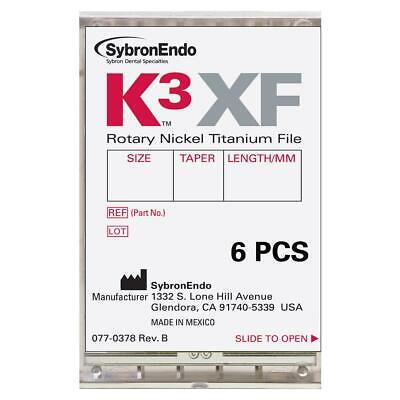 Kerr Dental 823-0257 Sybronendo K3xf Rotary Files 25 Taper 0.1 17mm 6pk
