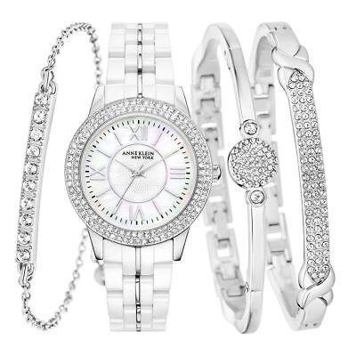 NEW Anne Klein New York 12/2299SVST Women's Ceramic Watch & Bangle Set