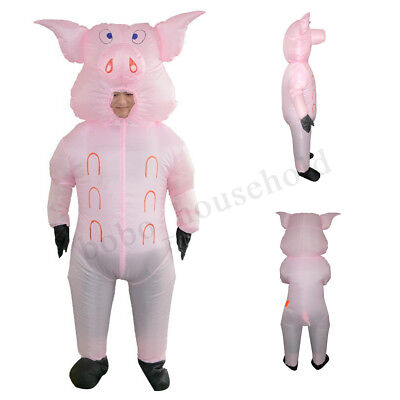 Inflatable Pink Pig Costume Fancy Dress Party Adult Cosplay Carnival Outfits - Pink Pig Costume
