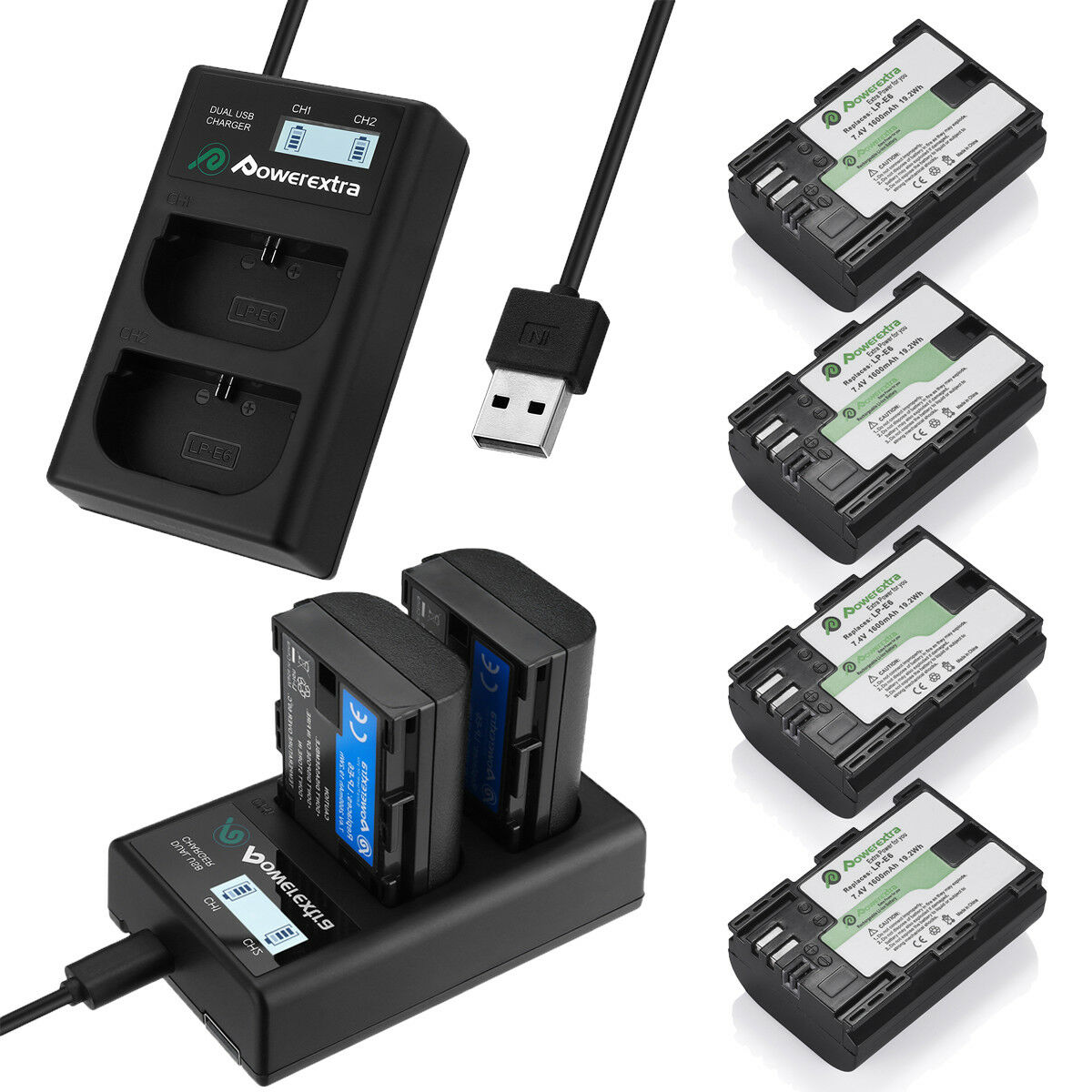 Купить Powerextra LP-E6 battery + Charger - LP-E6 Battery + Dual Charger for Canon EOS 80D, 6D, 7D, 70D, 60D, 5D Mark II III