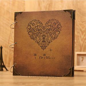 Vintage Heart Shape DIY Diary Photo Image Album Gift Scrapbook Memory Love