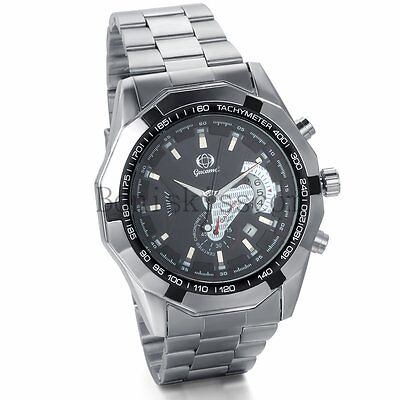 Men's Sport Stainless Steel Skeleton Automatic Mechanical Wrist Watch With Date