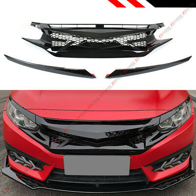 FOR 2016-2019 HONDA CIVIC 10TH GEN GLOSS BLK JDM BATTLE STYLE FRONT HOOD GRILLE