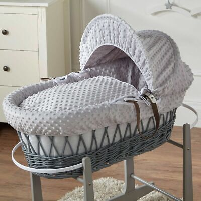 Grey Dimple Grey Wicker Moses Basket for sale  Shipping to South Africa