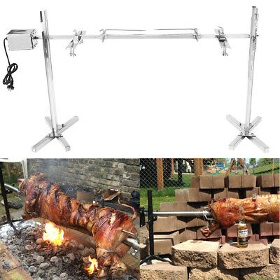 (Large Grill Rotisserie Spit Roaster Rod Charcoal BBQ Pig Chicken 15W Motor Kit)