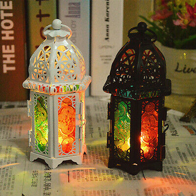 Moroccan Hollow Iron Glass Lantern Tea Light Candle Holder W
