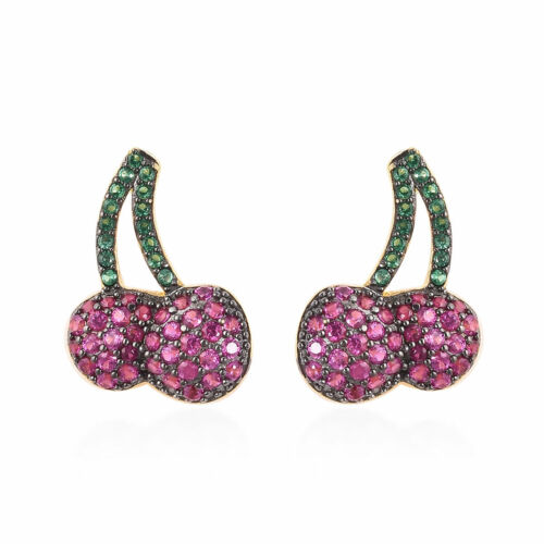 Simulated Green & Ruby Color Diamond Cherry Earrings Rhodium & 14K YG over Sterl