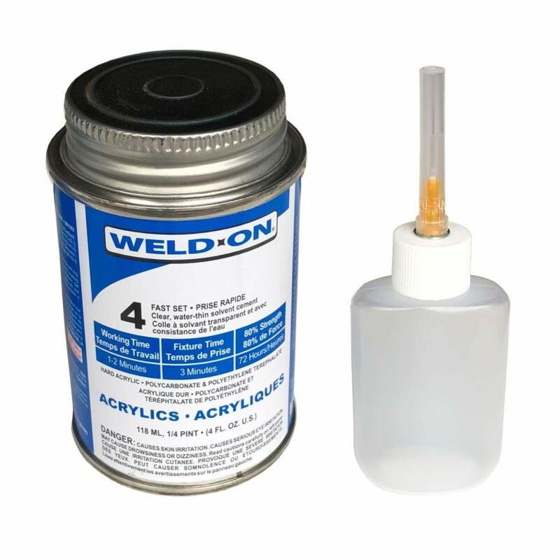 Weld-On #4 Plastic Solvent Cement for Acrylic/Plexiglas 4 oz + Bottle & Needle