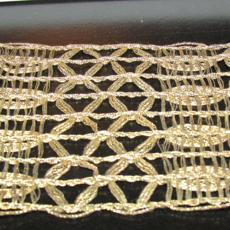 """Antique Metallic  Ribbon  hand made  2yds 7""""    3"""" wide  copper black"""