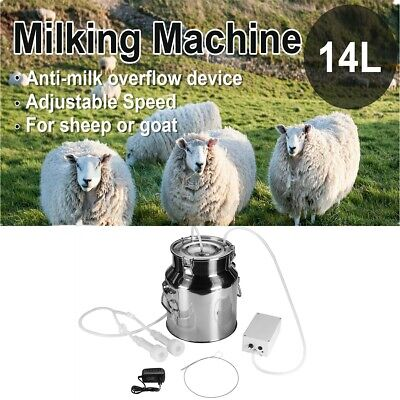 14l Electric Milking Machine Vacuum Impulse Pump Stainless Steel For Goat Milker
