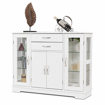Buffet Storage Cabinet Console Cupboard W/Glass Door Drawers Kitchen Dining Room