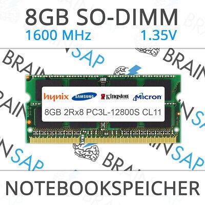 8GB DDR3 RAM SO-DIMM PC3L-12800S 2Rx8 1600 MHz 1.35V Laptop Speicher NEU - S 1 Sodimm Speicher