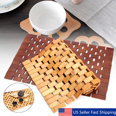 Bamboo Placemat (18'' Bamboo Wood Anti-Slip Insulation Placemat Dish Table Pad Home Kitchen)