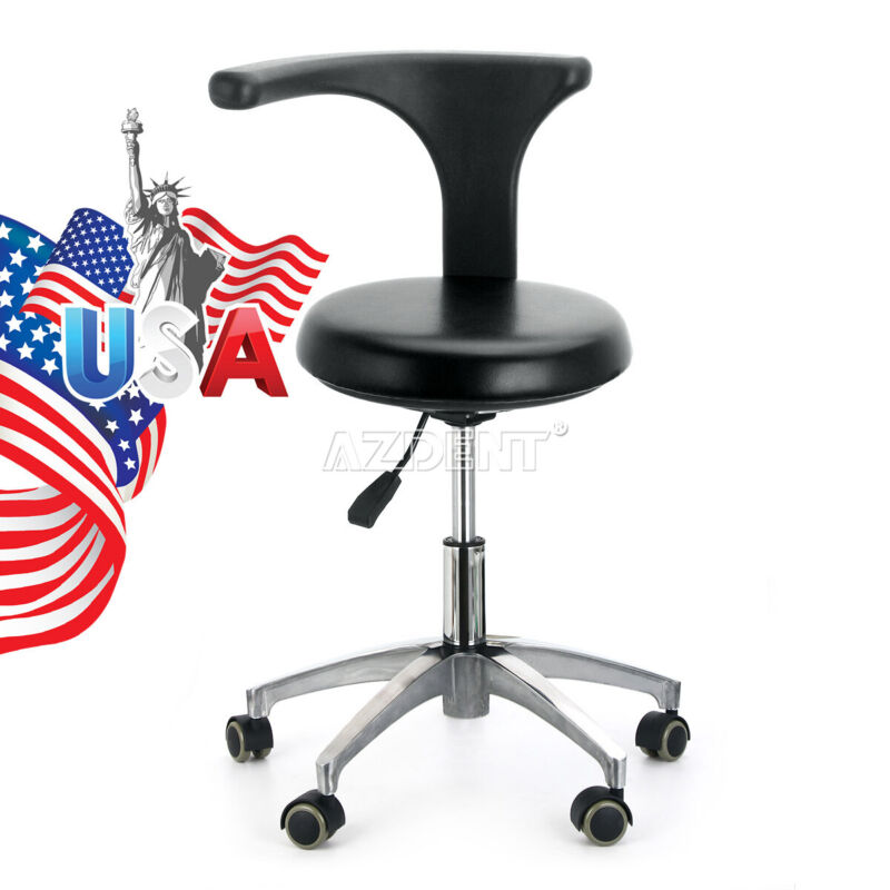 Dental Adjustable Mobile Chair Dentist Assistant Stool PU Hard Leather 21# Black