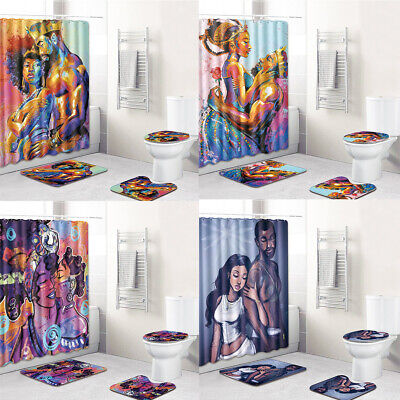 King Queen Couple African Shower Curtain Fabric Lovers Home Decoration Bath Rugs ()