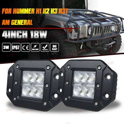 Hummer H1 H2 H3 Truck Flush Mount Flood Backup Reverse Rear Bumper Led Light Bar