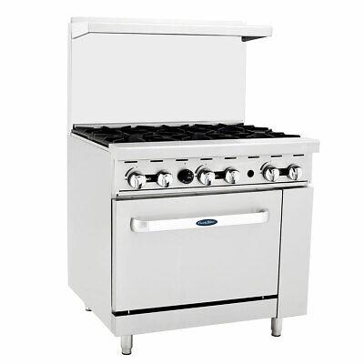 New 6 Open Burner 36 Range Std Gas Oven Commercial Atosa Agr-6b 6037 Stove