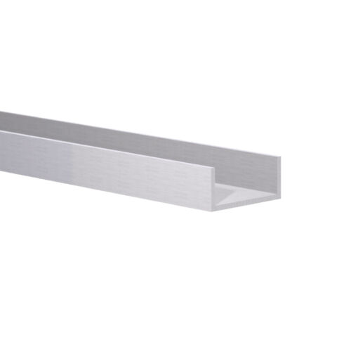 "Aluminum Channel: (1-1/8"" W x 1/2"" H x 1/16) Fits 1"" Clear Anodized 6 foot"