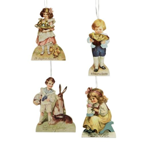 Bethany Lowe Vintage Spring Children Easter Dummy Board Ornament Set