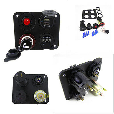 Car Marine Boat 4 in 1 2 USB SocketRV Breaker Voltmeter Rocker Panel Switch