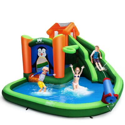 Inflatable Water Park Slide Bouncer w/ Climbing Wall Splash Pool Water Cannon