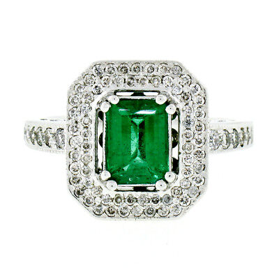 14K White Gold 2.50ctw Emerald Solitaire & Diamond Cocktail Ring w/ Open Gallery ()