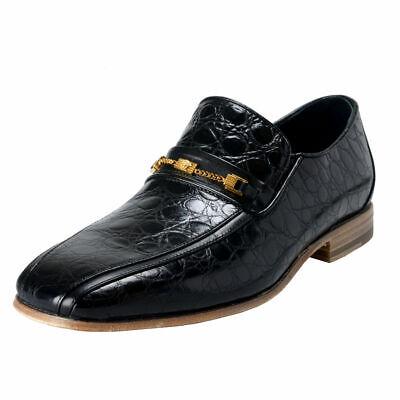 Versace Men's Black Croc Print Leather Loafers Shoes Sz 6 7 8 9 10 11 12 13 14