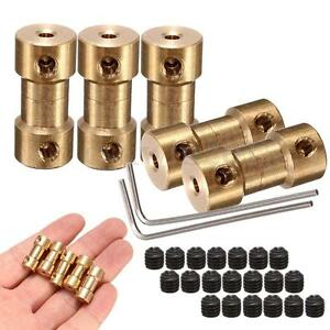5Pcs Brass Shaft Motor Flexible Coupling Coupler Connector+2 Spanners W/ Screws