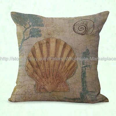 US SELLER- decor pillows cheap nautical seashell pillow case sealife decor