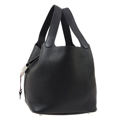 HERMES Picotin Lock MM Hand Tote Bag C BS 004 ZB Black Taurillon Clemence S10117