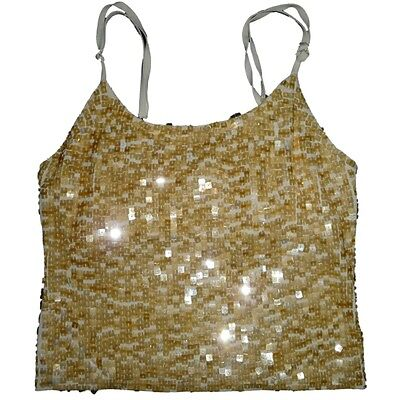 yellow gold sequined Tank Top Silk stretch Woman XL