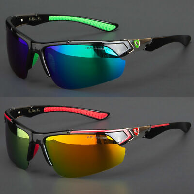 New Men Polarized Sunglasses Sport Mirror Wrap Around Driving Eyewear Glasses Us