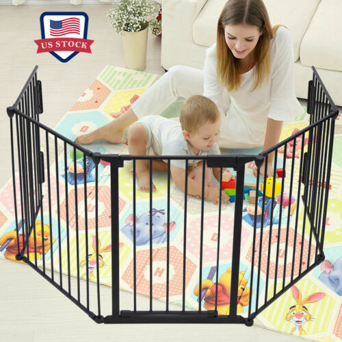5 Panels Fireplace Fence Baby Child Safety Fence Hearth Pet Home Metal Fire Gate