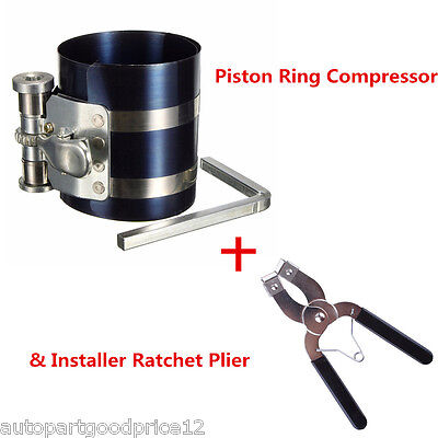 Piston Ring Compressor with Installer Ratchet Plier Remover Expander Engine Tool