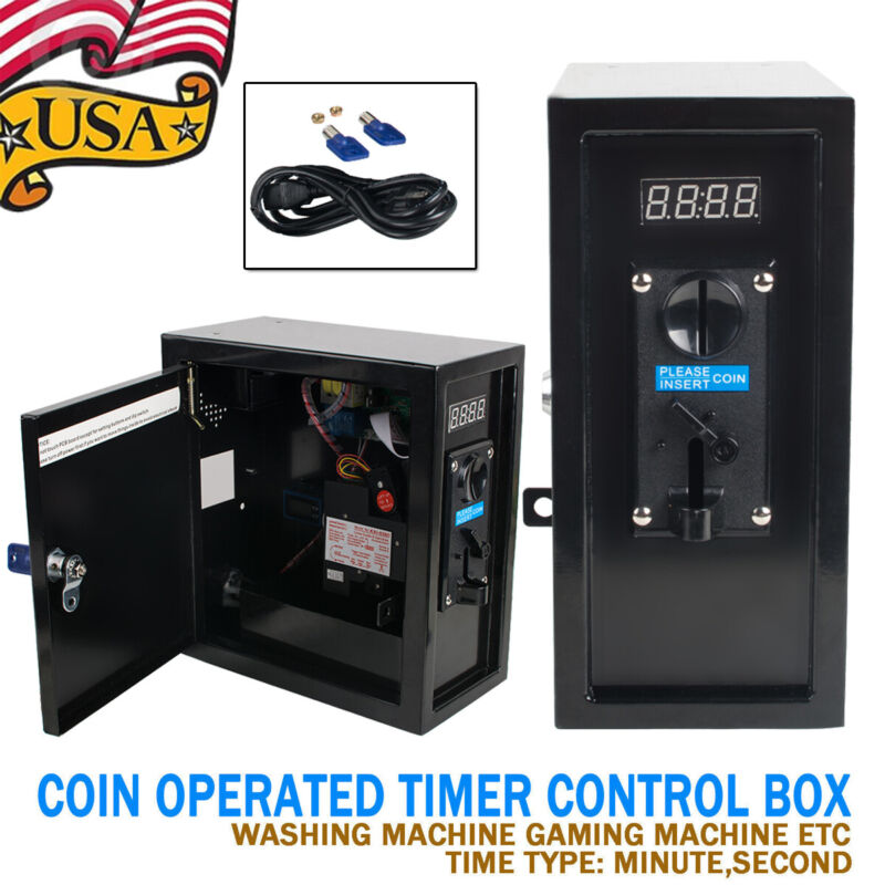 Coin Operated Timer Control Box Electronic Coin Selector Acceptor Relay 1250W