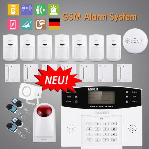 Funk Alarmsystem GSM/SMS Alarmanlage Einbruchschutz Bewegungsmelder Sicherheit