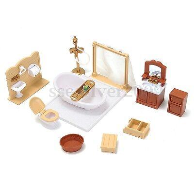 1/12 Scale Dollhouse Miniature Bathroom Furniture Set Bathtub Toilet Accessories