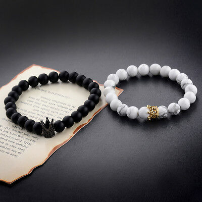 2Pcs Couple King Queen Crown Bracelets His And Her Friendship 8mm Beads Bracelet (Friend Ship Bracelets)
