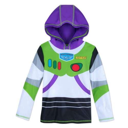 NWT Disney Store Buzz Rash Guard Shirt Top UPF 50+ Boy 3,4,5/6,7/8 hooded