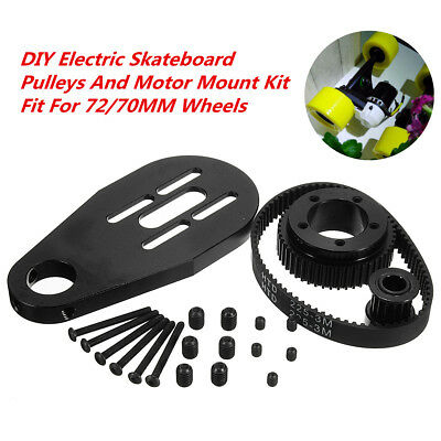 DIY Electric Skateboard Kit Part Pulleys Belt & Motor Mount for 70/72mm