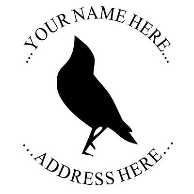 New Custom Return Address Round Self Inking Rubber Stamp With Black Bird Imprint