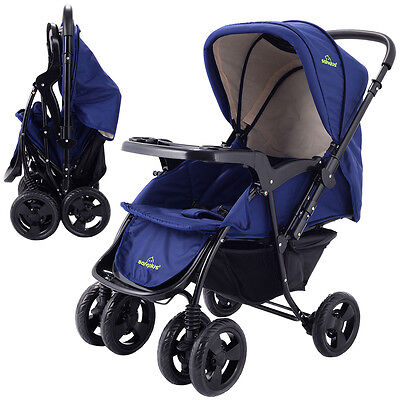 Купить Goplus - Two Way Foldable Baby Kids Travel Stroller Newborn Infant Pushchair Buggy Blue